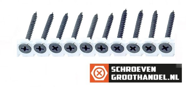 Bandschroeven voor gipsplaat 3,5x55 mm gefosfateerd fijn draad phillips 1000 stuks