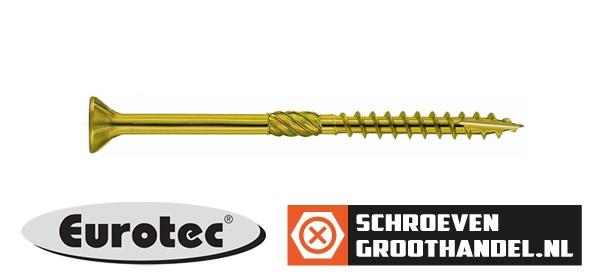 Houtbouwschroeven 5x90 mm geelverzinkt platkop TORX-20 200 stuks