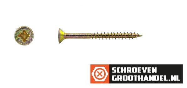 Spaanplaatschroeven 5x50/30mm geel verzinkt platkop pozidriv-2 200 stuks