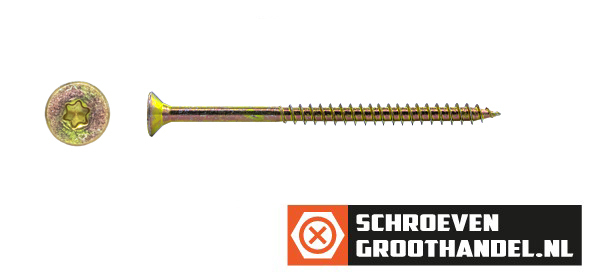 Spaanplaatschroeven 5x90/54mm geel verzinkt platkop TORX-25 200 stuks