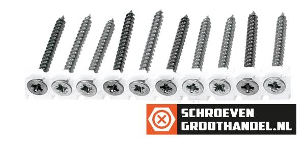 Bandschroeven voor spaanplaat 4x25 mm verzinkt platkop pozidriv 1000 stuks