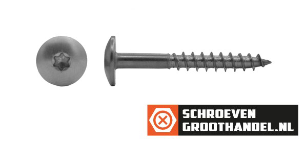 Schroeven voor Trespa® / HPL-platen 4,8x70 mm Blanco RVS A2 TORX 100 stuks