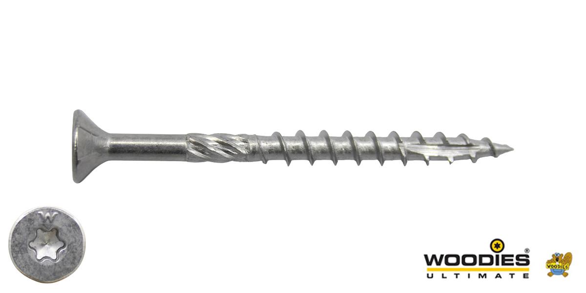 Woodies schroeven RVS 410 C1 TORX-20 platkop 4x60/35mm deeldraad 200 stuks