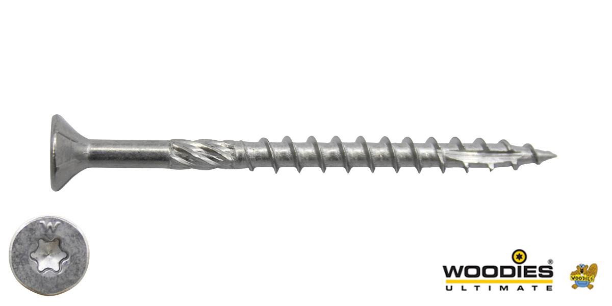 Woodies schroeven RVS 410 C1 TORX-25 platkop 5x90/55mm deeldraad 200 stuks