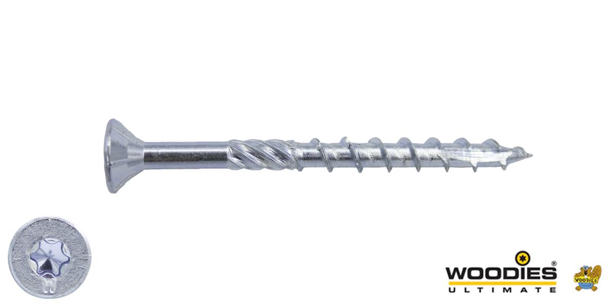 Woodies schroeven verzinkt TORX-20 platkop 4x40/24mm deeldraad 1000 stuks
