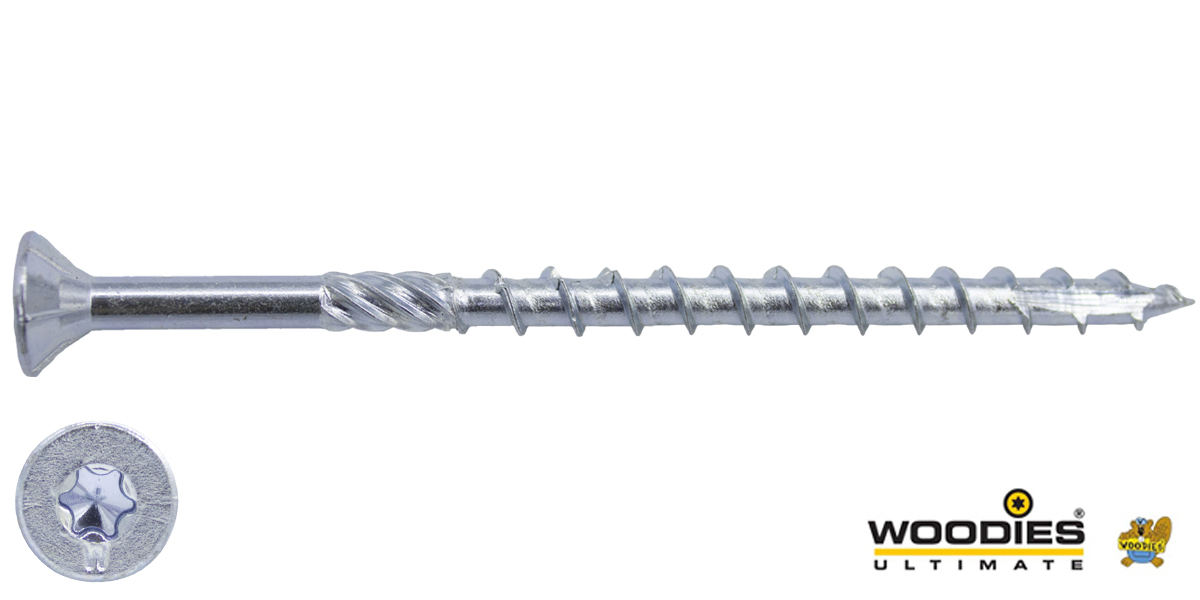 Woodies schroeven verzinkt TORX-30 platkop 6x120/70mm deeldraad 100 stuks