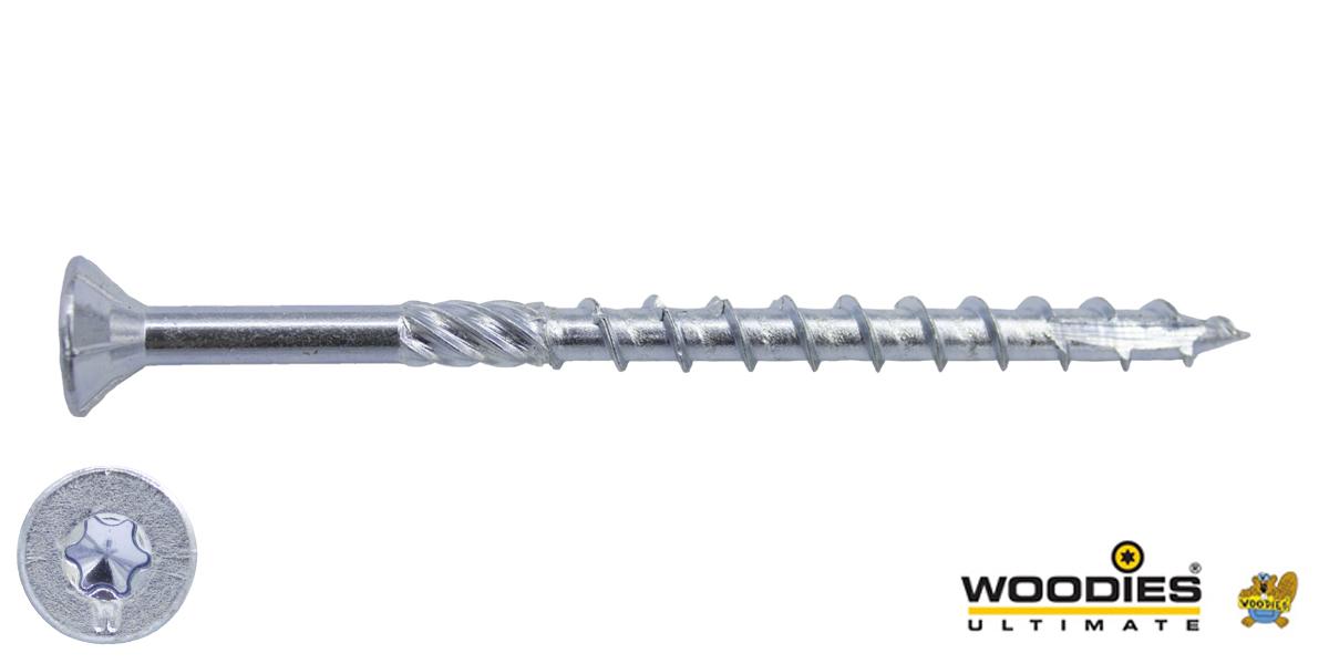 Woodies schroeven verzinkt TORX-30 platkop 6x90/55mm deeldraad 100 stuks
