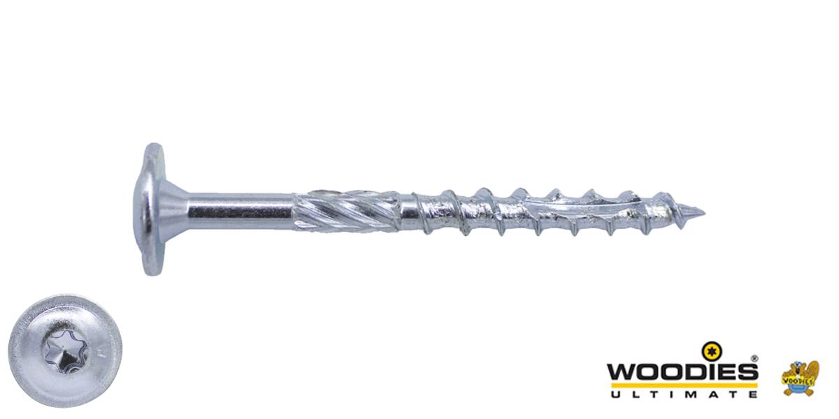 Woodies Tellerkopschroeven TORX-30 verzinkt 6x120/70mm deeldraad 100 stuks