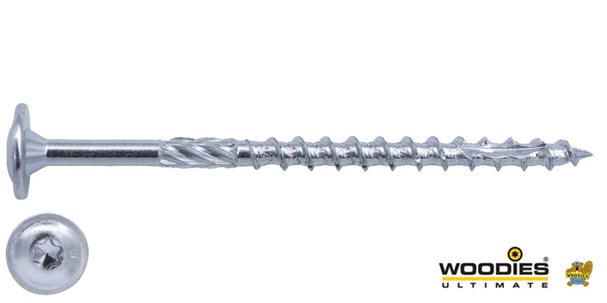 Woodies Tellerkopschroeven TORX-40 verzinkt 8x340/80mm deeldraad 50 stuks