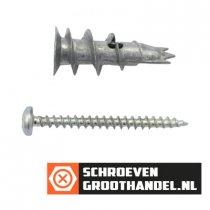 Gipsplaatpluggen metaal 32mm met schroeven 4mm 6 stuks