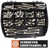 Assortimentskoffer tap-binnenzeskantbouten DIN933-DIN912 M10 rvs A4 (AISI-316) 75-delig